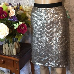 Maurice's Silver Sequined Skirt Soft Waistband Sm